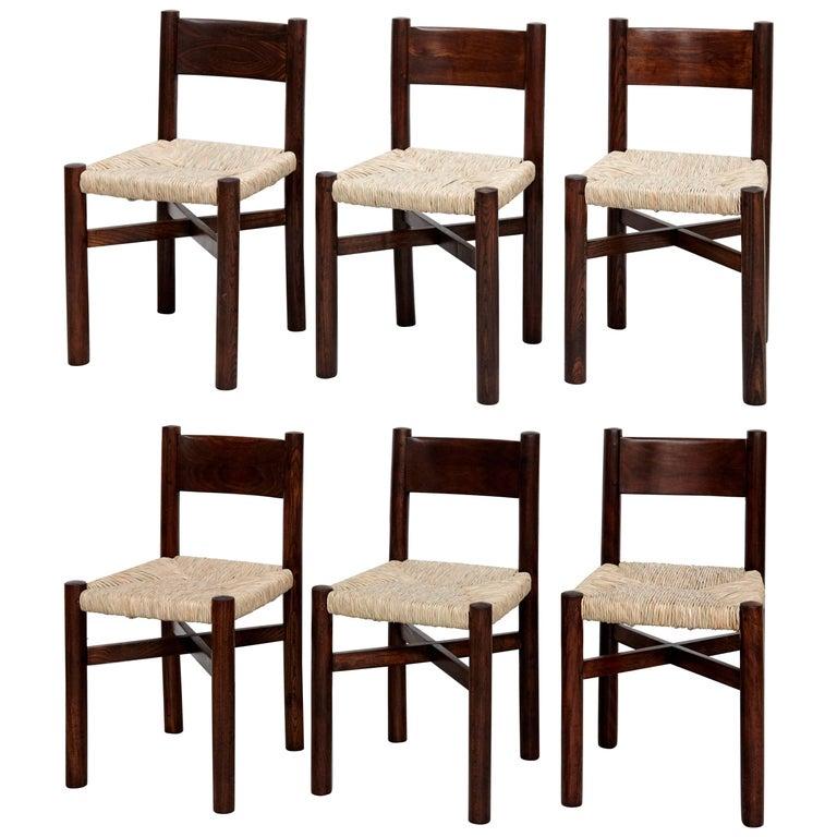 Set of Six Charlotte Perriand Meribel Chair, circa 1950
