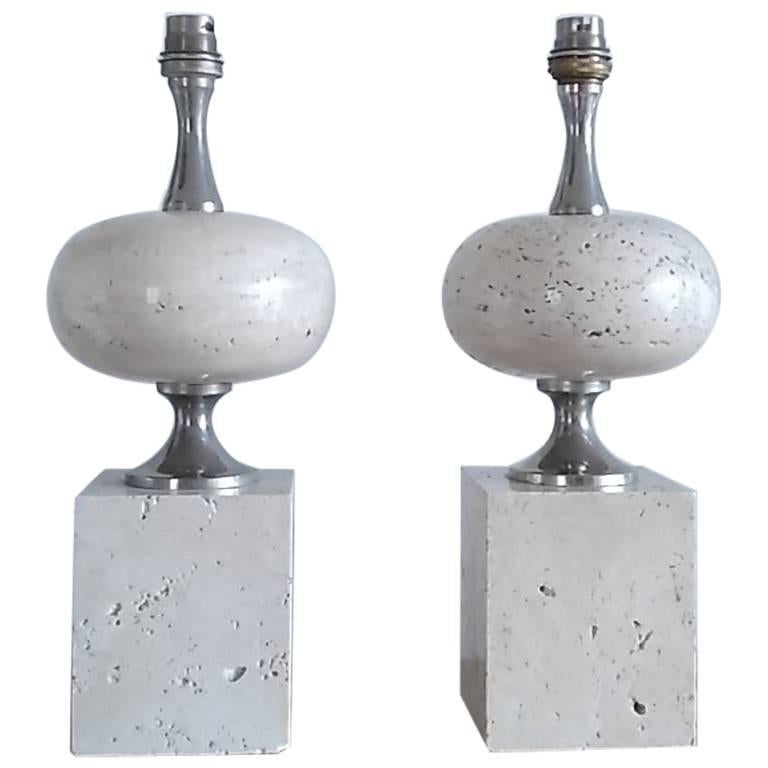 Pair of Polished Beige Travertine Table Lamps by Philippe Barbier France, 1970s