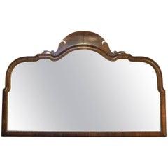Walnut Framed Triple Plate Overmantel Mirror