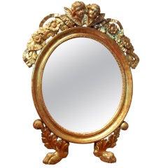Italienischer Französischer Vergoldeter Spiegel mit Vergoldeten Putten/Cherubim