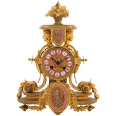 19th Century, French Ormolu and Painted Mantel Clock