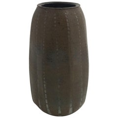 Martin Brothers Miniature Ribbed Vase, Signed and Dated, 1908