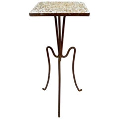 Wrought Iron and Stone Garden Patio Stand with Pebble Stone Top
