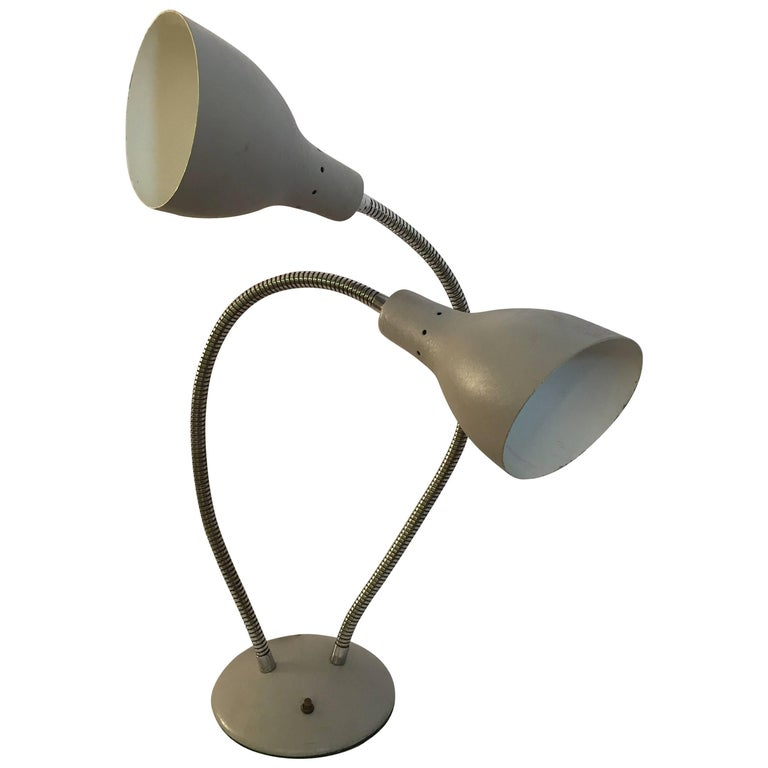 Double Goose Neck Table Lamp in the Manner of Kurt Versen