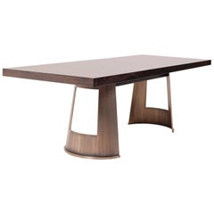 "Contemporary ""Horizon"" Table with Timber top and brass base"