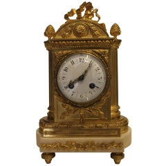 Early 20th Century French Ormolu and White Marble Mantel Clock