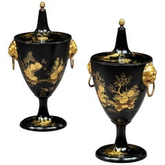 Pair of George III Japanned Chestnut Urns