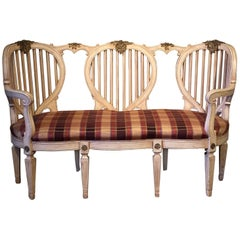 20th Century French Style Shabby Chic Painted Loveseat