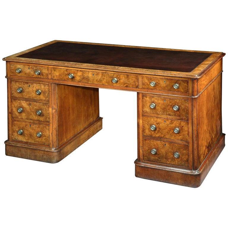 Victorian Burr Walnut Pedestal Desk