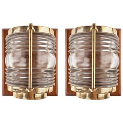 Pair of Nautical Ship's Post Lights with Fresnel Lens on Teak Backplate