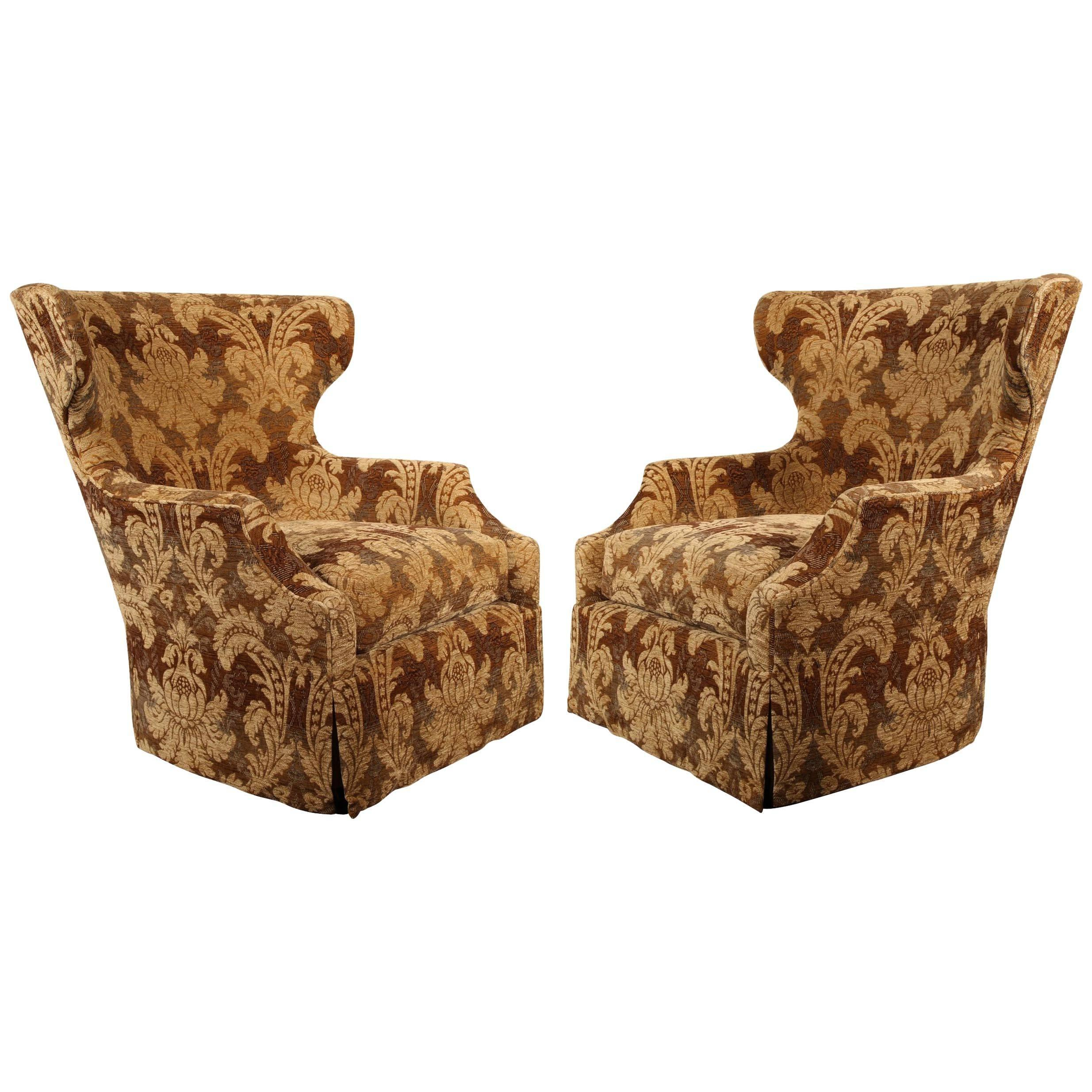Pair Of Marge Carson Well Proportioned Swivel Wingback Chairs