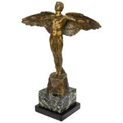 Art Deco Gilt Bronze Sculpture of Male Nude as Icarus by Victor Heinrich Seifert