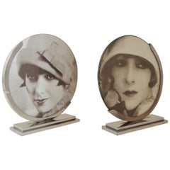 Pair of Large English Art Deco Chrome Reversible Free Standing Photo Frames