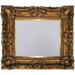 20th Century French Louis XIV Style Giltwood Framed Beveled Wall Mirror