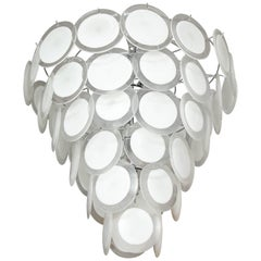 Murano White Glass Disc Chandelier