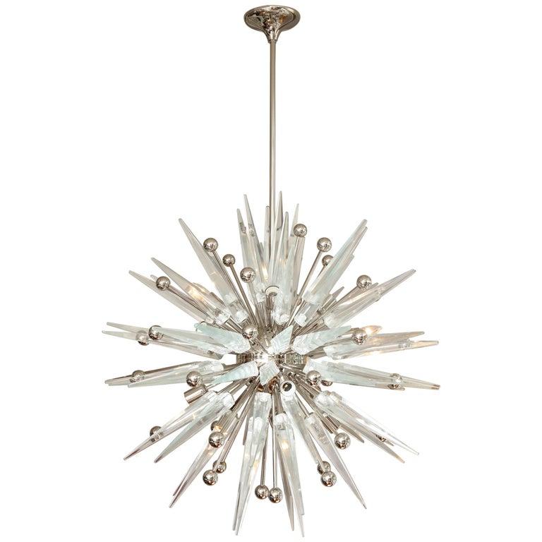 Custom Murano Clear Glass Spike Sputnik with Nickel Spheres