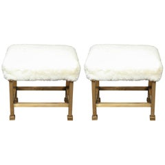 Pair of Custom Shearling and Brass Stools