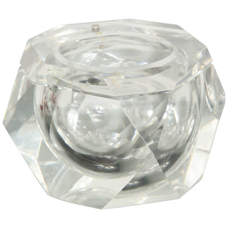 Vintage Faceted Lucite Ice Bucket