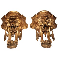 Good Pair of George III Carved and Gilt, Shaped Wall Brackets