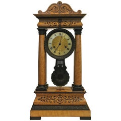 19th Century French Birds Eye Maple Portico Clock