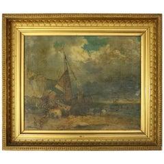 Continental School Oil on Canvas, Moorish Seascape and Beached Ship, circa 1874