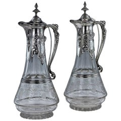 19th Century German Solid Silver & Etched Glass Pair of Claret Jugs, circa 1890