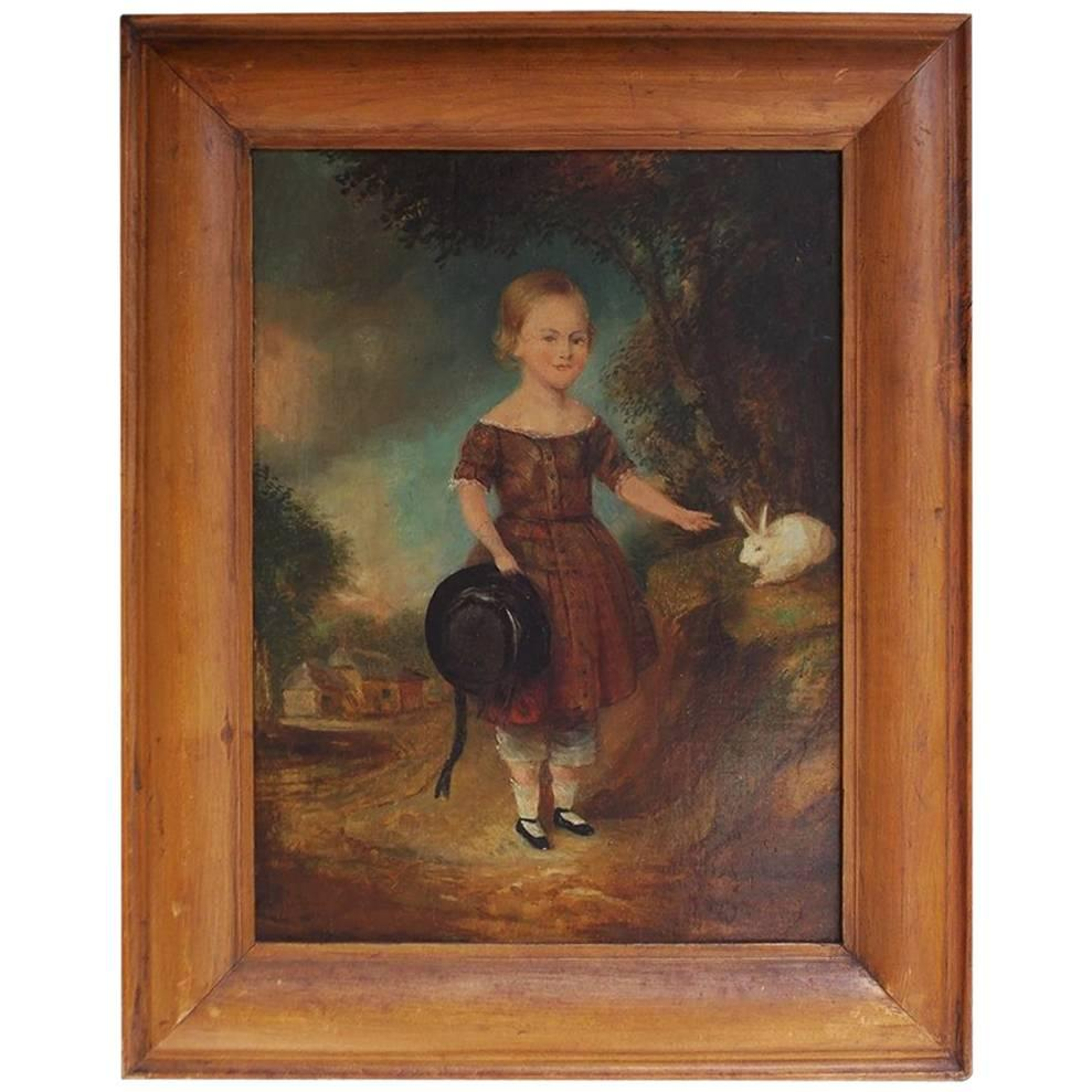 American Oil on Board Landscape with Young Lady and Rabbit, Circa 1820