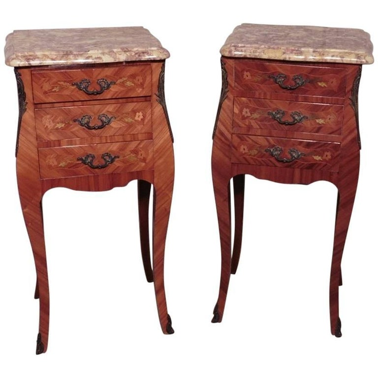 Pair of Inlaid French Marquetry and Marble Bombe Shaped Bedside Cupboards