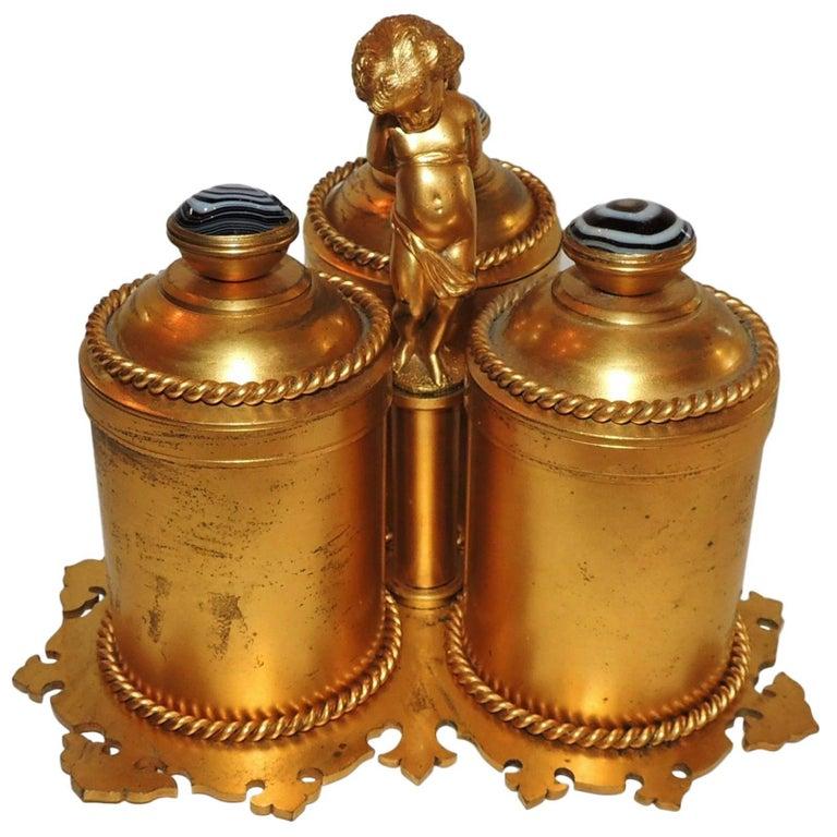 19th Century Victorian Doré Bronze Agate Perfume Three Crystal Bottle Vanity Set