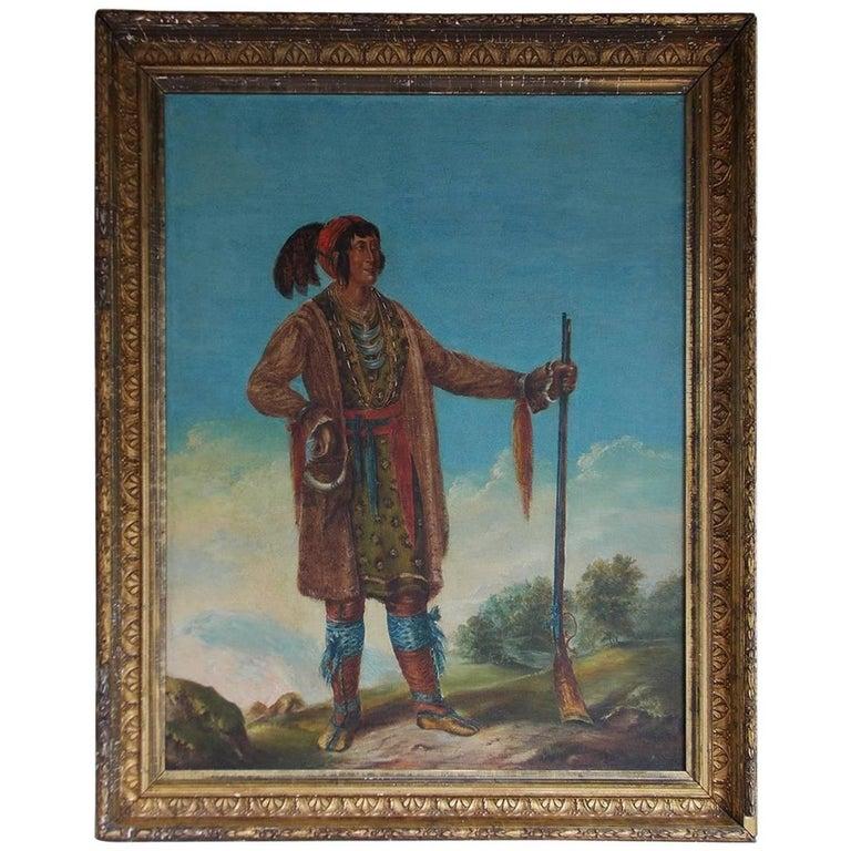 American Oil on Canvas Portrait of Osceola in Original Gilt Frame, Circa 1890 For Sale