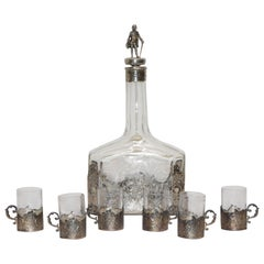 Victorian Silver and Engraved Crystal Decanter with Cordial Cups