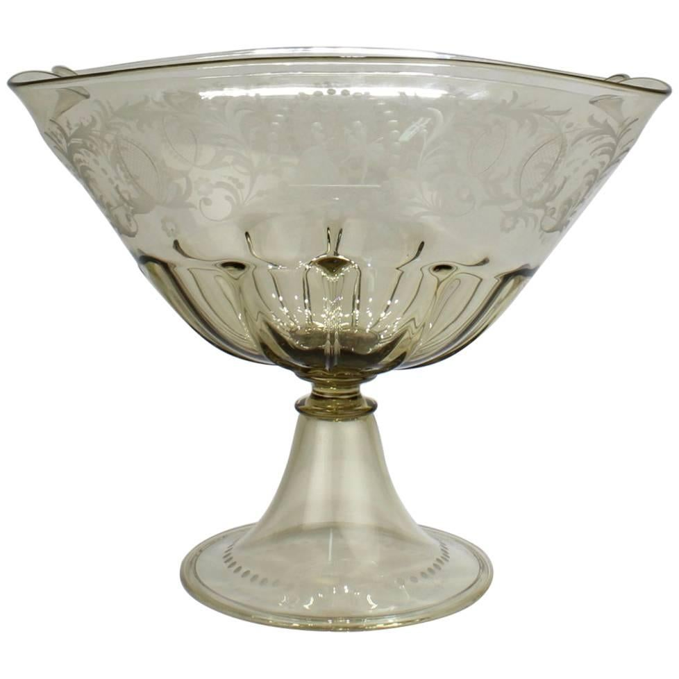 Pauly & Co. Light Amber Etched Venetian Glass Footed Bowl or Table Centrepiece