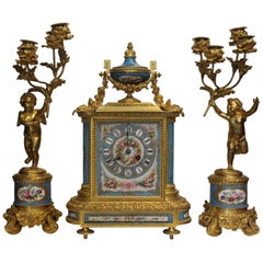 19th Century French Ormolu and Porcelain Clock Garniture