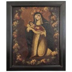18th Century Peruvian Cuzco School Virgin and Child Oil on Canvas Portrait