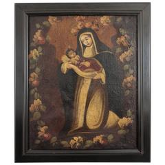 18th Century Peruvian Cuzco School Virgin and Child Oil on Canvas Portrait