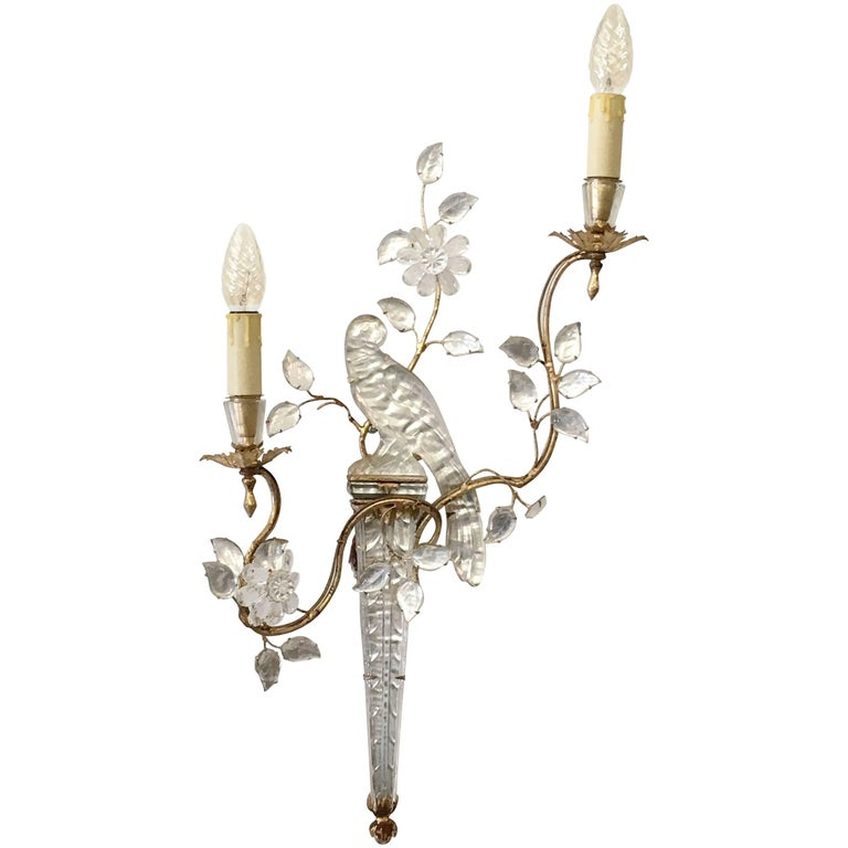 Maison Baguès Glass Bird and Floral Sconce