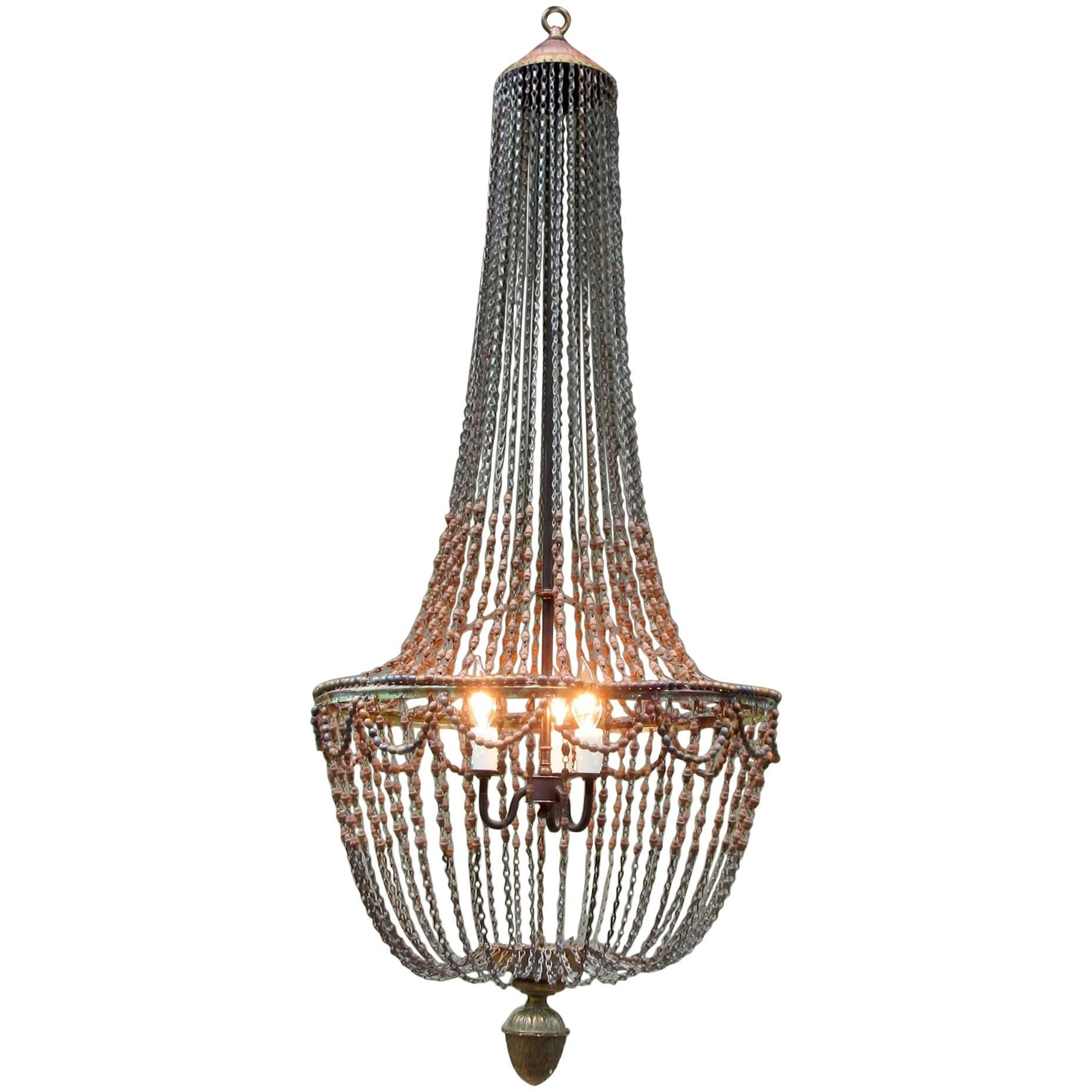 early 20th century italian empire handcarved wood bead chandelier with pinecone 1 - Wood Bead Chandelier