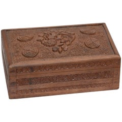 Carved Rosewood Tea Caddy