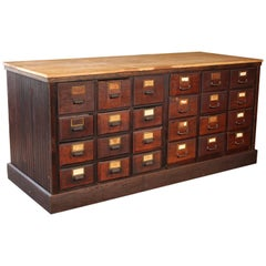 Vintage Wooden Store Counter Multi-Drawer Apothecary Storage Cabinet