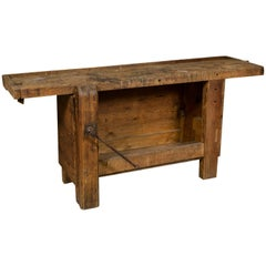 Closed Front Work Bench/ Console Table from France, circa 1920