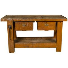Antique Work Table with Two Drawers from Belgium, circa 1900