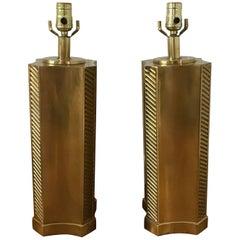 1960s Italian Brass Column Lamps, Pair