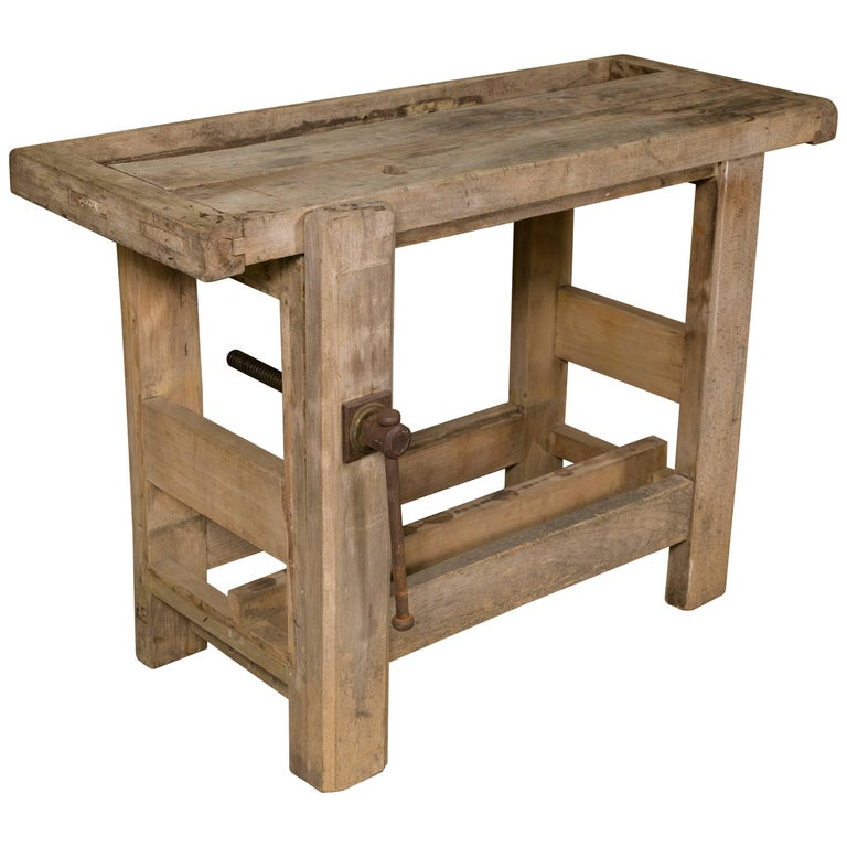 Small Bleached Oak Work Table From Belgium At 1stdibs