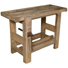 Small Bleached Oak Work Table from Belgium
