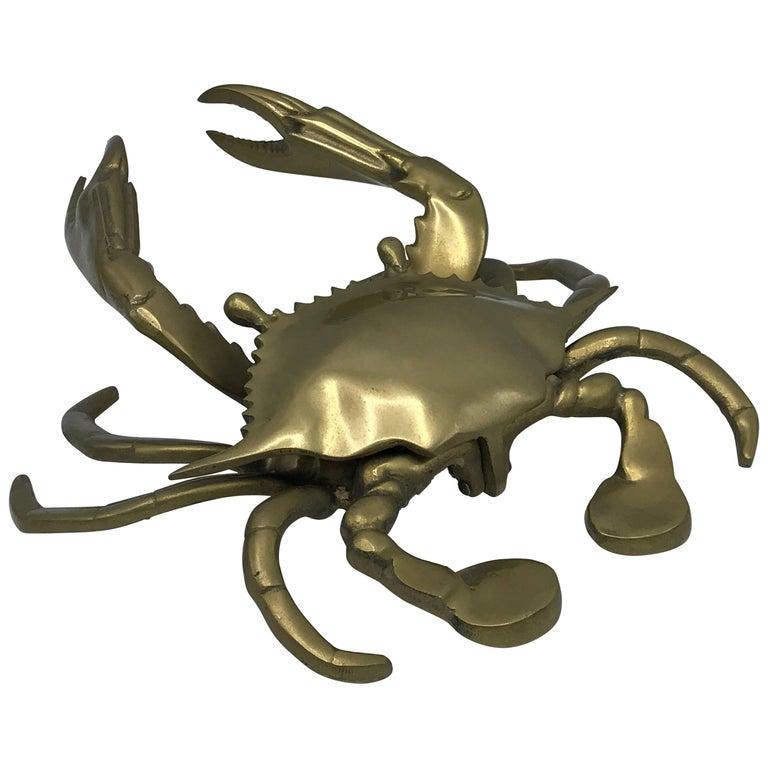 1960s Large Brass Crab Ashtray Lidded Dish