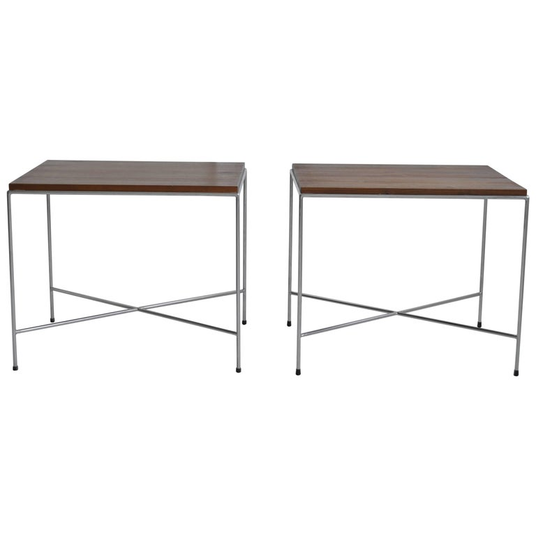 Pair of Vintage Established Lines X-Base Side Tables, Mid-Century, American