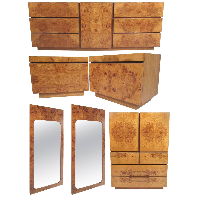Mid Century Burl Wood Bedroom Set by Milo Baughman for Lane Furniture. Mid Century Brutalist Mosaic Bedroom Suite Set by Lane Furniture