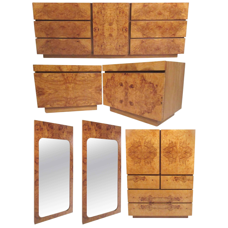 midcentury burl wood bedroom set by milo baughman for lane furniture 1