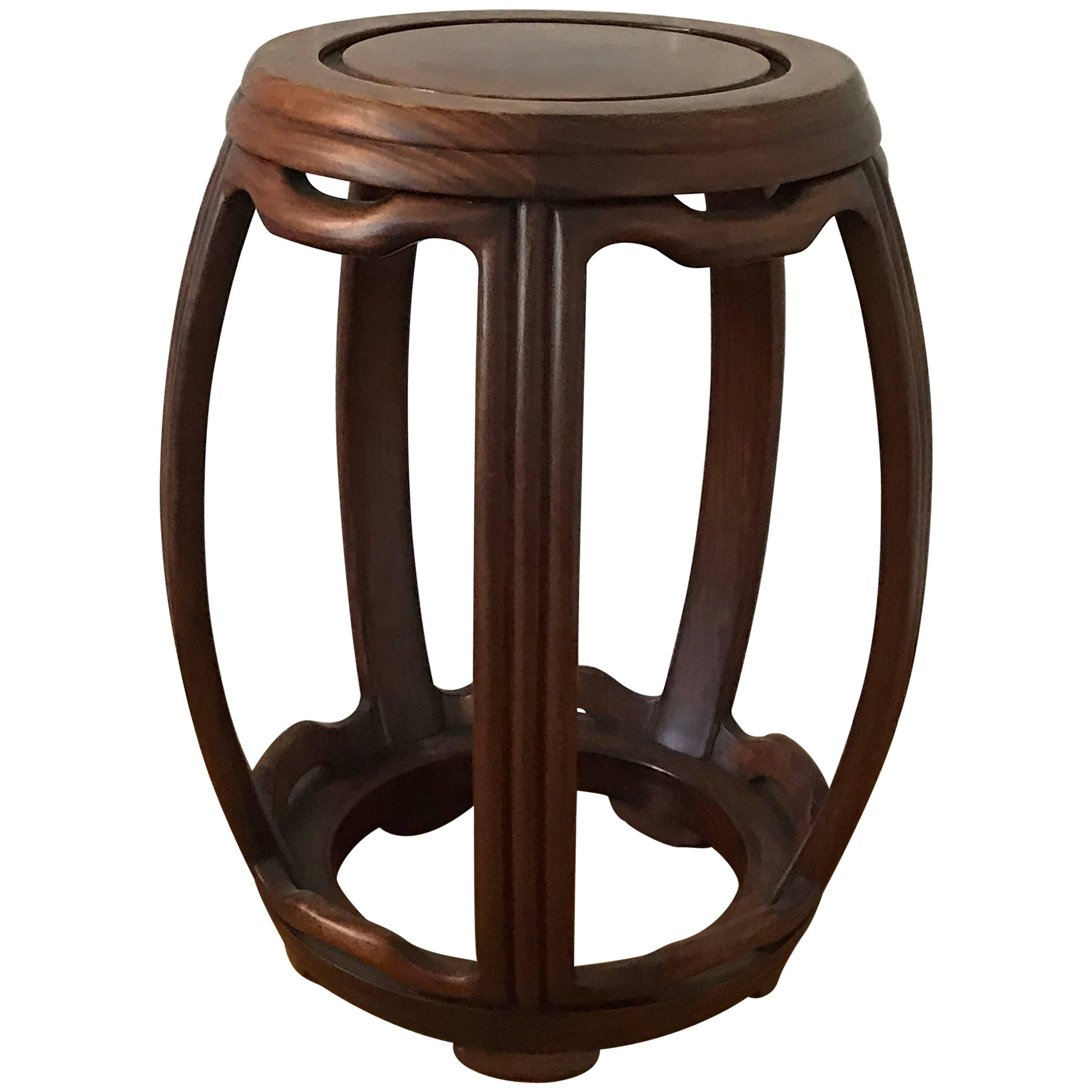1950s Ming Style Wooden Garden Stool For Sale