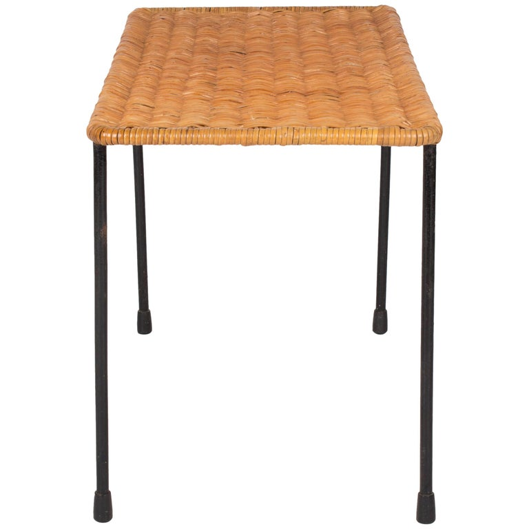 Beautiful Auböck Wicker and Steel Side Table, Vienna Early 1960s